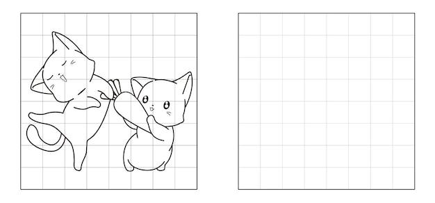Copiez l'image du dessin animé de chats et de carottes