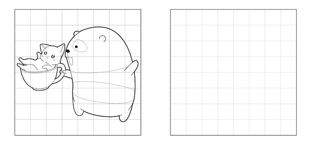 Copiez l'image du dessin animé de panda et de chat