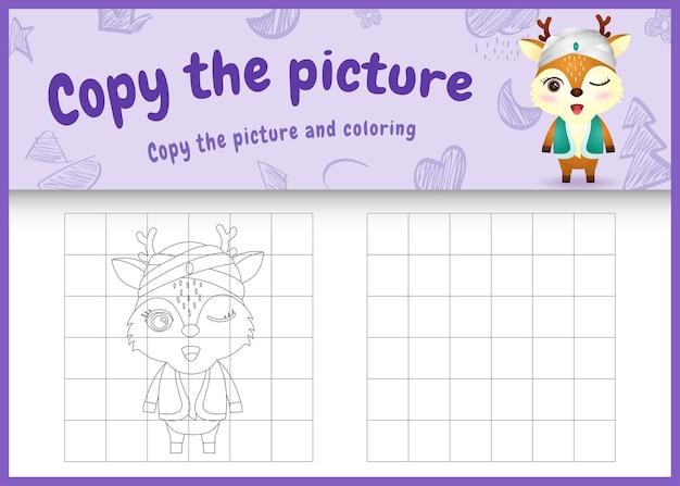 Copiez l'image du jeu pour enfants et coloriage sur le thème du ramadan avec un joli cerf en costume traditionnel arabe