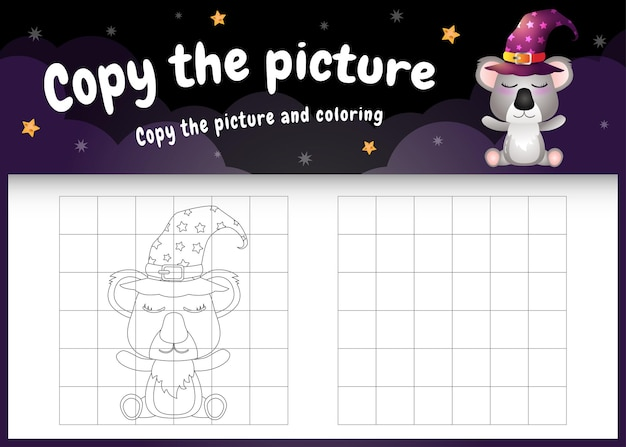 Copiez l'image du jeu pour enfants et de la page à colorier avec un koala mignon utilisant un costume d'halloween