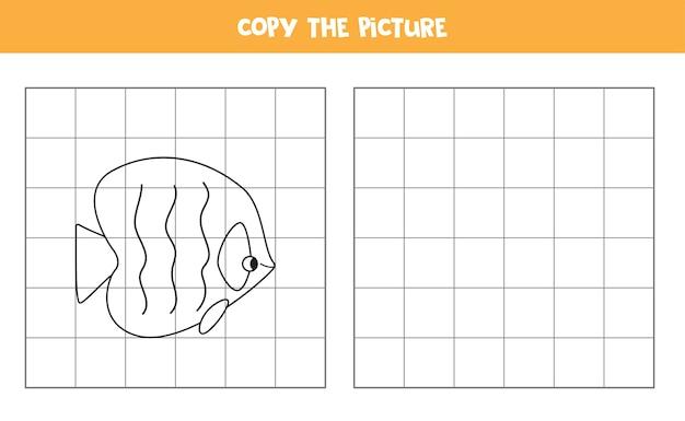 Copiez L'image Du Poisson De Dessin Animé Jeu éducatif Pour Les Enfants Pratique De L'écriture Manuscrite Vecteur Premium