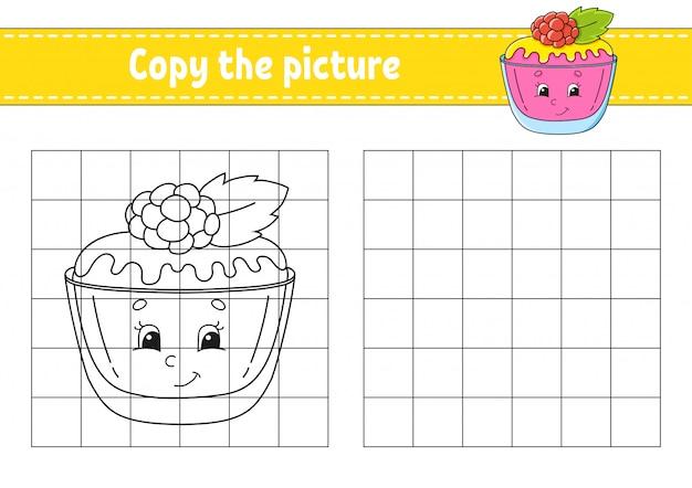Copiez l'image. gâteau sucré. pages de livres à colorier pour les enfants.