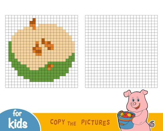 Copiez l'image par carrés, jeu éducatif pour enfants, apple