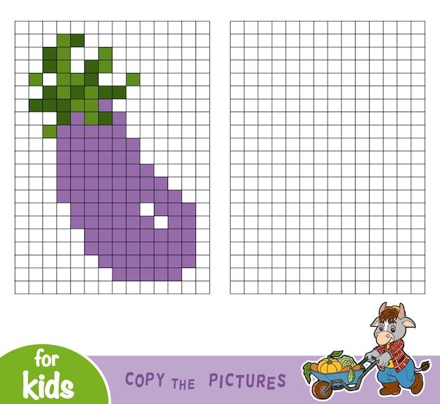 Copiez l'image par carrés, jeu éducatif pour enfants, aubergine