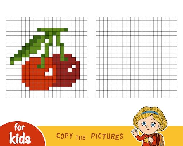 Copiez l'image par carrés, jeu éducatif pour enfants, cerise