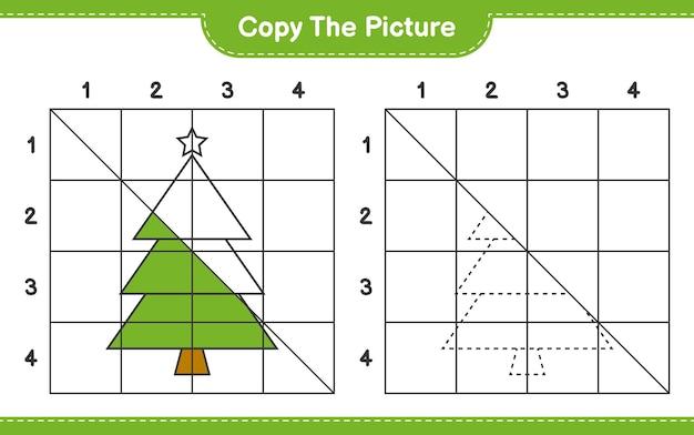 Copiez le jeu de feuille de calcul éducatif d'image de l'arbre de noël en utilisant des lignes de grille