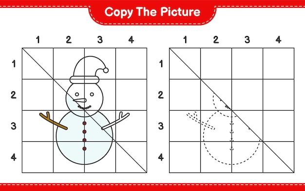 Copiez le jeu de feuille de calcul éducatif d'image de bonhomme de neige en utilisant des lignes de grille
