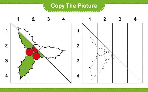 Copiez le jeu de feuille de calcul éducatif d'image de holly berries en utilisant des lignes de grille