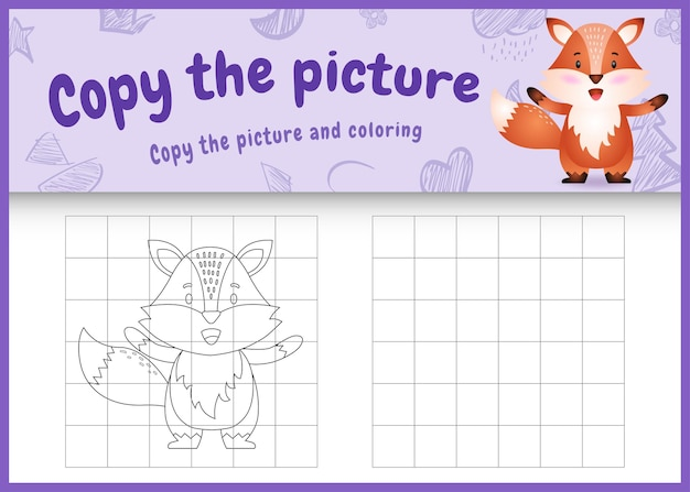 Copiez le jeu et la page de coloriage pour enfants avec un renard mignon
