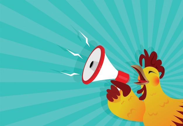 Le coq chante avec un mégaphone