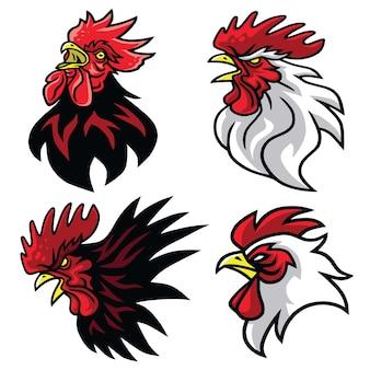 Coq combats sports mascotte logo ensemble premium design pack collection illustration vectorielle