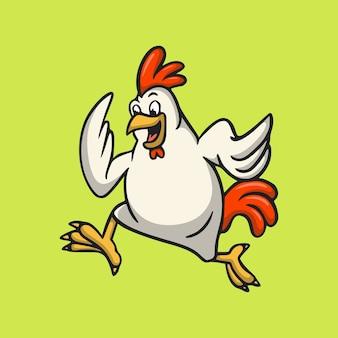 Coq de conception animale de dessin animé exécute une mascotte mignonne