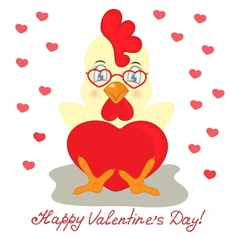 Coq jaune dans des verres avec coeur rouge. félicitations à la saint-valentin.