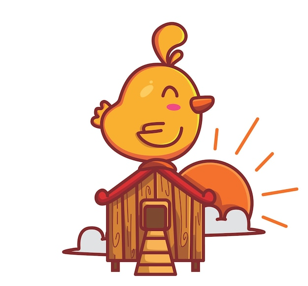 Coq mignon chantant sur la maison en bois au lever du soleil le matin illustration vectorielle isolée
