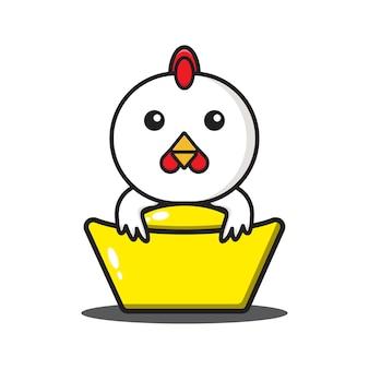 Coq mignon zodiaque chinois étreignant l'or