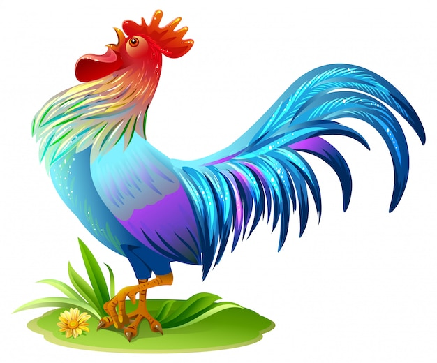 Coq oiseau bleu. symbole du coq bleu 2017 année sur l'horoscope est