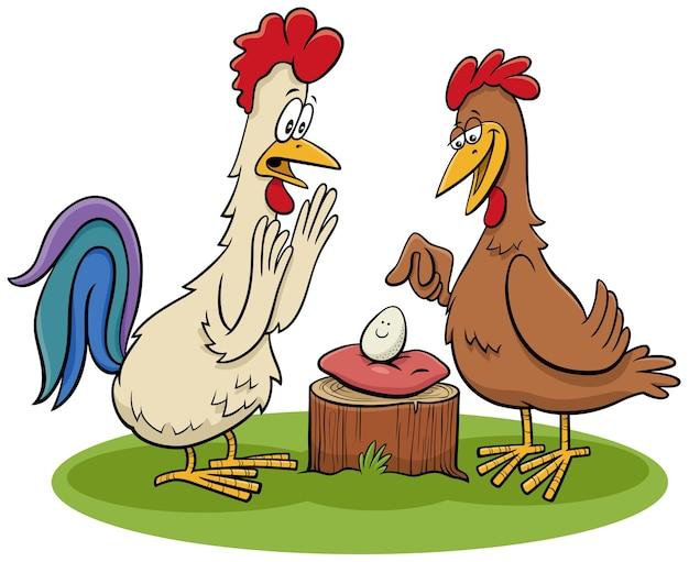 Coq et poule avec une illustration de dessin animé d'oeuf