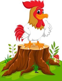 Coq de poulet dessin animé sur une souche d'arbre