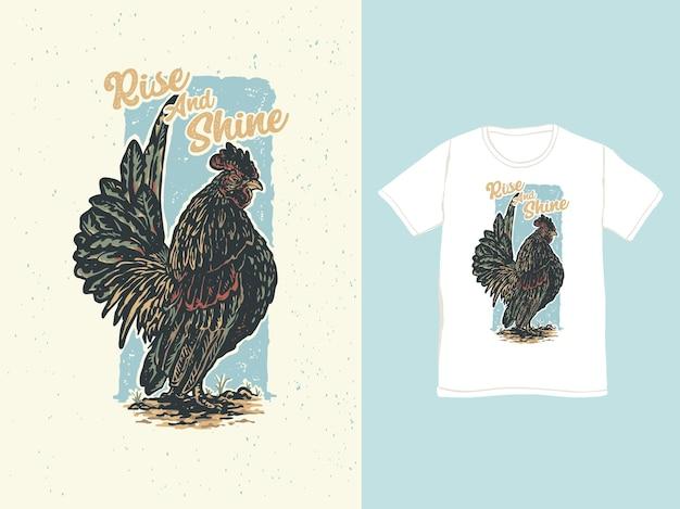 Le coq de poulet avec une illustration colorée vintage