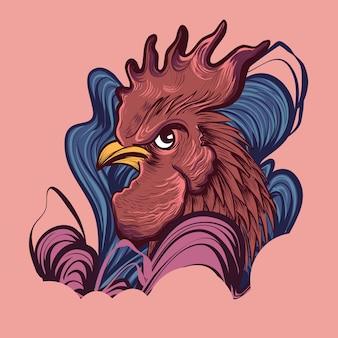 Coq rouge avec ligne