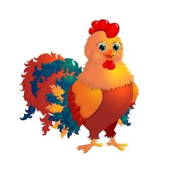 Coq - vecteur mignon de dessin animé rouge
