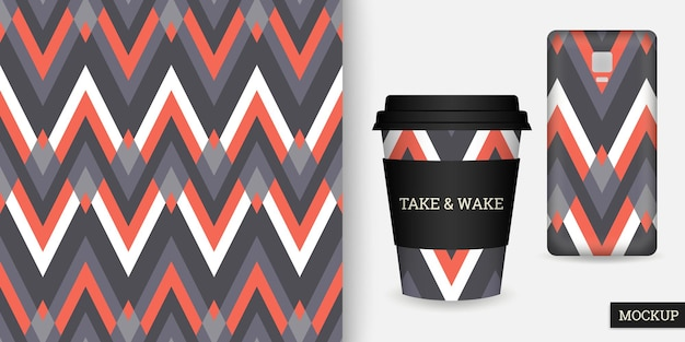 Coque pour smartphone et tasse à motif zigzag sans couture