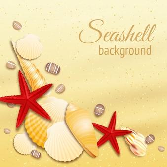 Coquillage sur l'illustration vectorielle de plage de sable doré l'été
