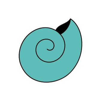 Coquillage de style doodle huître de pétoncles illustration simple isolé sur fond blanc été