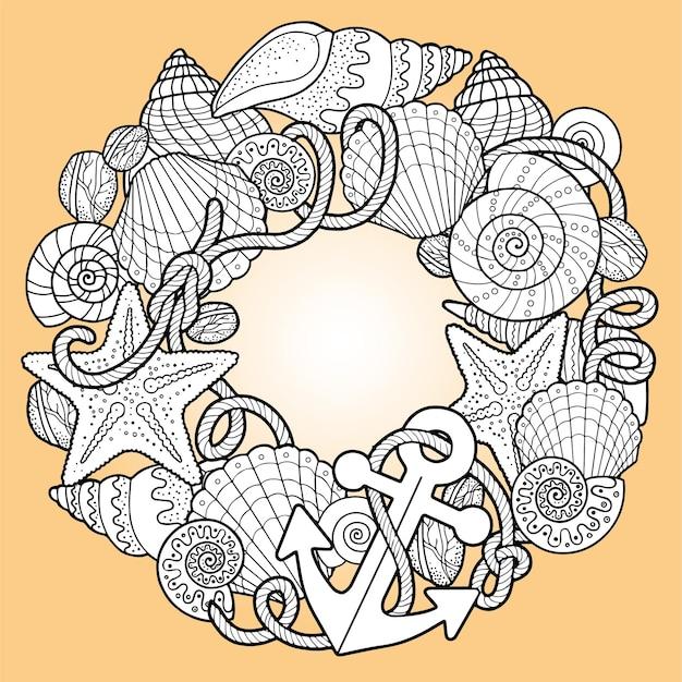 Coquillages, ancres et cadre de coloration rond de corde sur fond orange clair