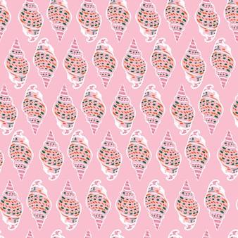 Coquillages dessinés à la main mignons illustration douce humeur vecteur modèle sans couture eps10, design pour la mode, tissu, textile, papier peint, couverture, web, emballage et toutes les impressions sur rose