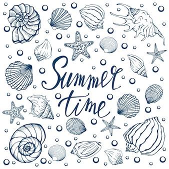 Coquillages, été, vacances, ensemble de coquillages et étoiles de mer, vecteur. coquillages et étoiles de mer dessinés à la main. belle inscription en calligraphie moderne.