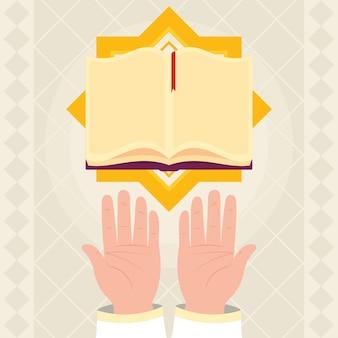 Coran ouvert et illustration des mains en prière