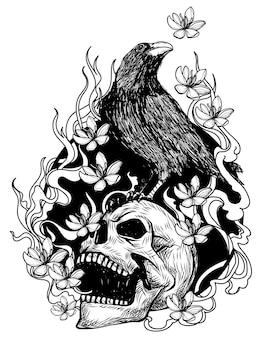 Corbeau d'art de tatouage sur un dessin et un croquis de main de crâne