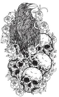 Corbeau d'art de tatouage sur un dessin et un croquis de main de fleur de crâne