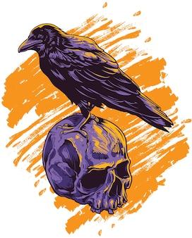 Corbeau au sommet du crâne