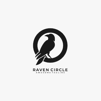 Corbeau, à, cercle, silhouette, logo