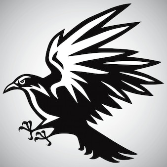 Corbeau corbeau logo vector noir et blanc