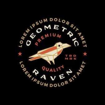 Corbeau corbeau oiseau polygonale géométrique insigne logo icône vector illustration