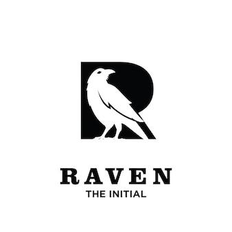 Corbeau avec création d'icône logo lettre initiale r
