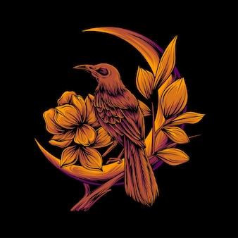Corbeau d'horreur sur une lune orange