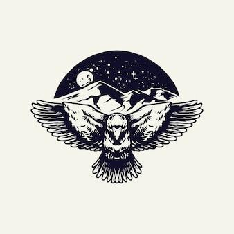 Corbeau avec montagnes et lune isolé sur blanc
