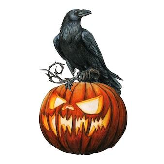 Corbeau occidental d'aquarelle sur une citrouille d'halloween rougeoyante découpée