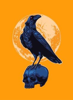 Corbeau perché sur l'illustration du crâne
