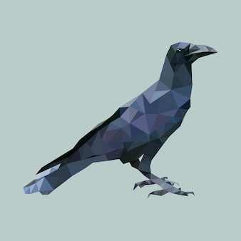 Corbeau polygonal, oiseau triangle polygone, vecteur animal isolé