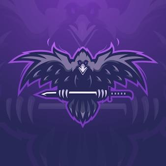 Le corbeau porte un vecteur d'illustration de conception de logo de mascotte de jeu d'épée