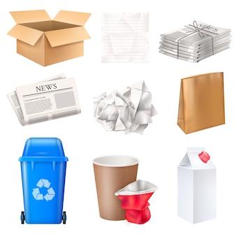 Corbeille et déchets sertie de carton et de papier réaliste isolé