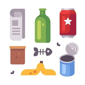 Corbeille d'objets. journal, bouteille en verre, boîtes de conserve, icônes plates de peau de banane