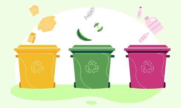 Corbeille en papier, organique et en plastique séparant une illustration