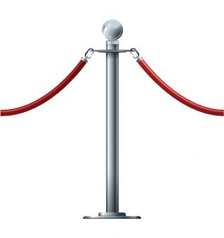 Corde de barrière isolée sur blanc. concept de luxe vip argent rendu 3d