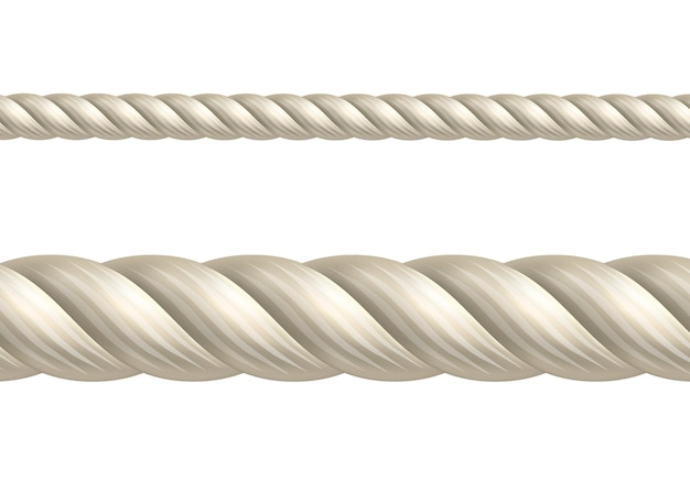 Corde beige sur blanc